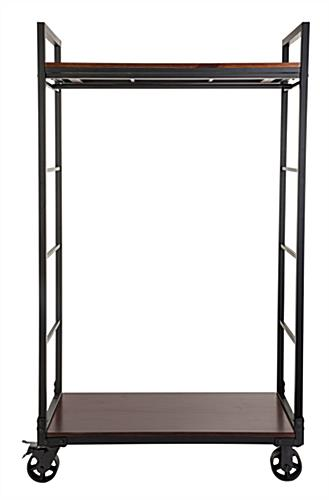 Mahogany wood mobile industrial retail dual shelf armoire rack