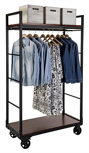 Metal pipe mobile industrial retail dual shelf armoire rack