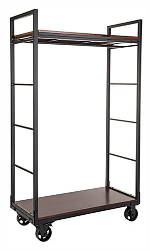 Wagon wheel mobile industrial retail dual shelf armoire rack