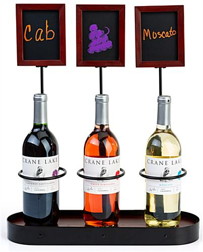 Write-on triple chalkboard bottle display