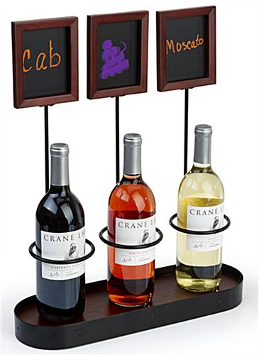 Triple chalkboard bottle display with steel holders