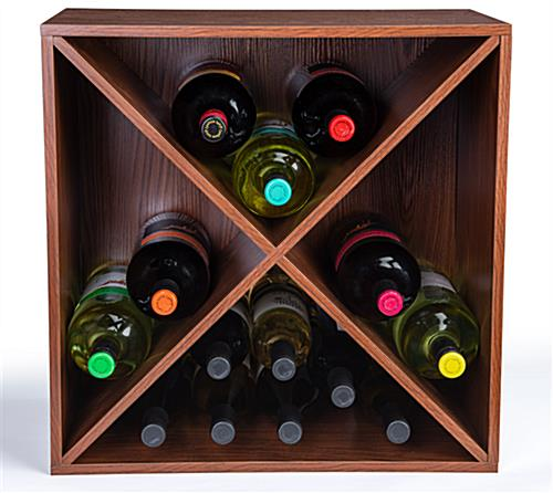 Retail wine rack storage cube with X insert