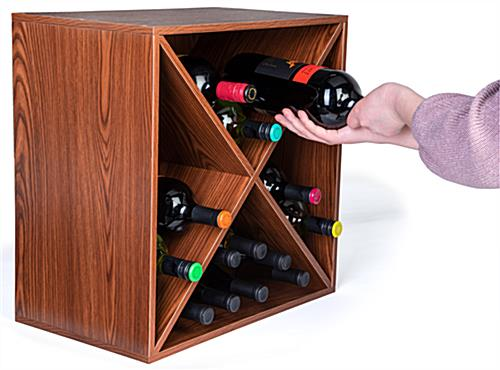 Convenient wine rack storage cube with X insert