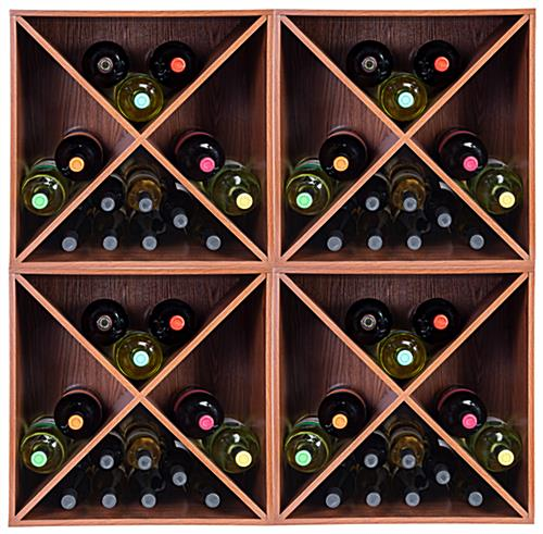 Stackable wine rack storage cube with X insert