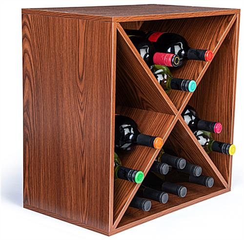 Durable wine rack storage cube with X insert