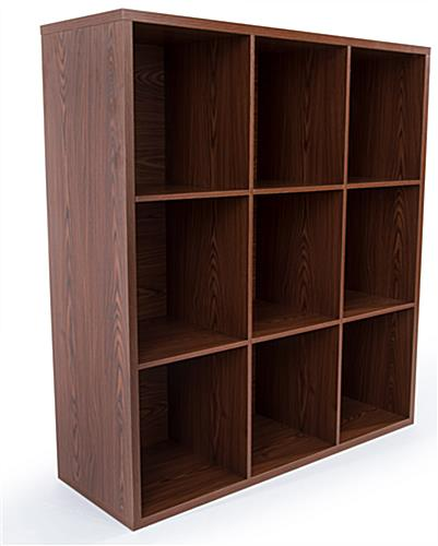 Wooden floor cube store shelves with X inserts