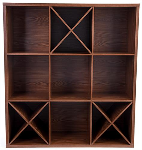 Dark brown wooden floor cube store shelves