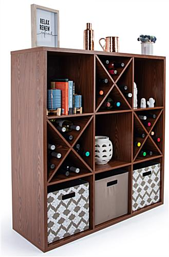 9-compartment wooden floor cube store shelves