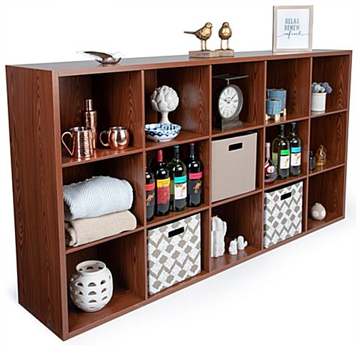 Wood cube commercial display organizer shelving with 15 cubbies
