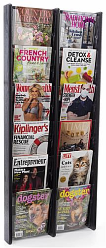 21.3 inch x 48.0 inch hanging magazine holder with solid oak wood construction