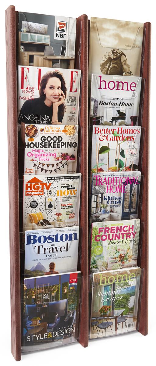 wood magazine rack for office in mahogany 12 pockets. Black Bedroom Furniture Sets. Home Design Ideas