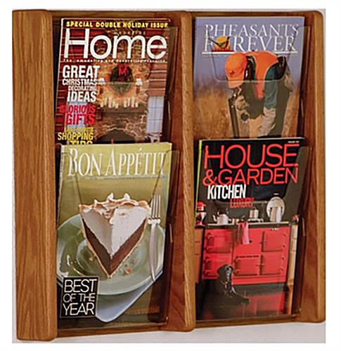 Adjustable brochure and magazine wall rack for waiting rooms and lobbies