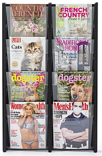 21.3 inch x 33.5 inch 8 pocket magazine holder with 2 columns for displaying reading content