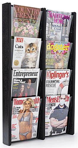 21.3 inch x 33.5 inch 8 pocket magazine holder with black finished stain
