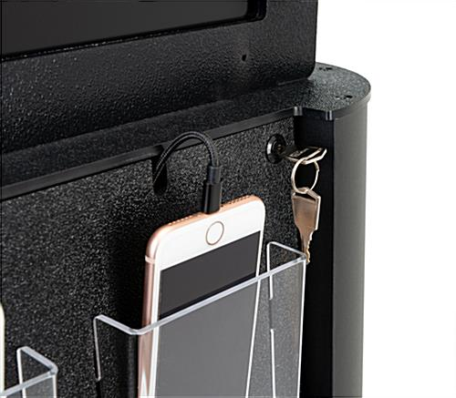 Lockable wall mounted digital cell phone charging station