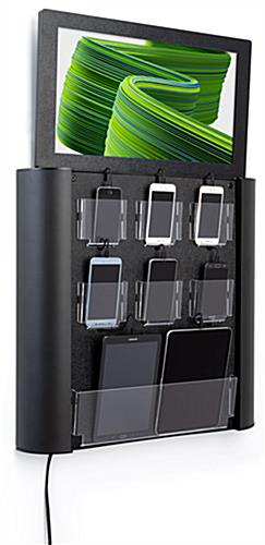 Wall mounted digital cell phone charging station with pockets for devices