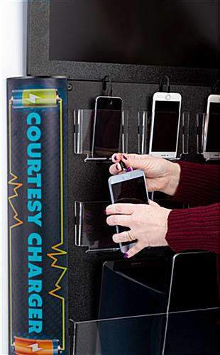 Space-saving branded digital signage wall charging station