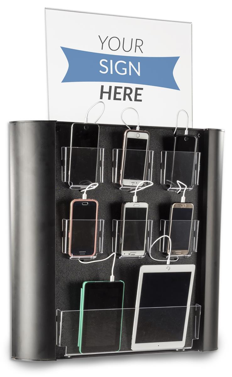 Public Wall Mounted Charging Station Seven Device Pockets