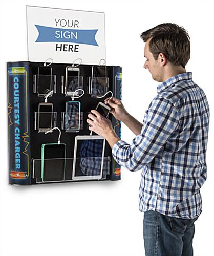 Multi Device Charging Kiosk with 8 Cords