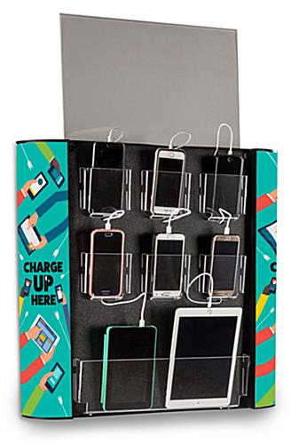 Cell phone device charging wall station