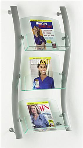 Magazine Holder Modern WaveDesign W Acrylic Pockets Stunning Acrylic Magazine Holder For Treadmill