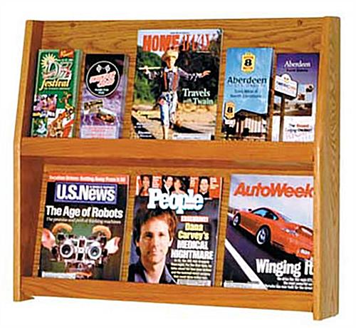 Wood magazine open shelves with 2-tier design