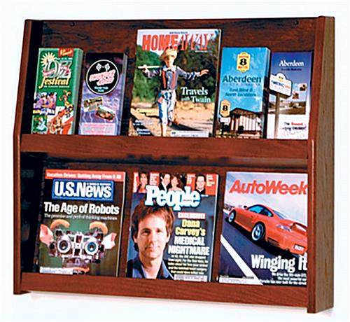 Shelf magazine holder for wall is made of real wood