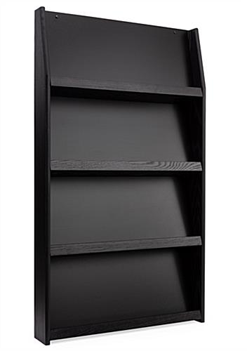 Open pocket black 4-tiered wall literature holder magazine rack