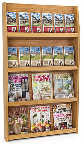 4-tier open design magazine display shelves in light oak finish