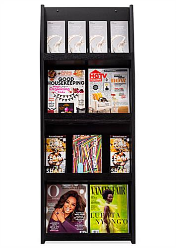 Wooden four shelf wall mount literature display
