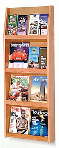 Light oak magazine literature holder for wall with 4 narrow tiers