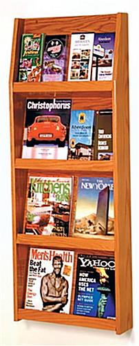 Medium oak finish wall magazine display holder with 4 shelves
