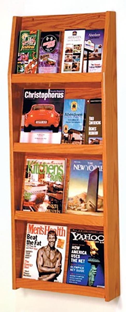 4 Tiered Wooden Magazine Rack For Wall Medium Oak