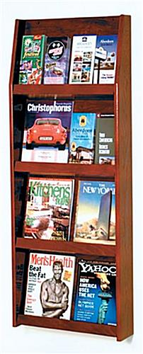 4 tiered magazine rack literature wall in red mahogany finish