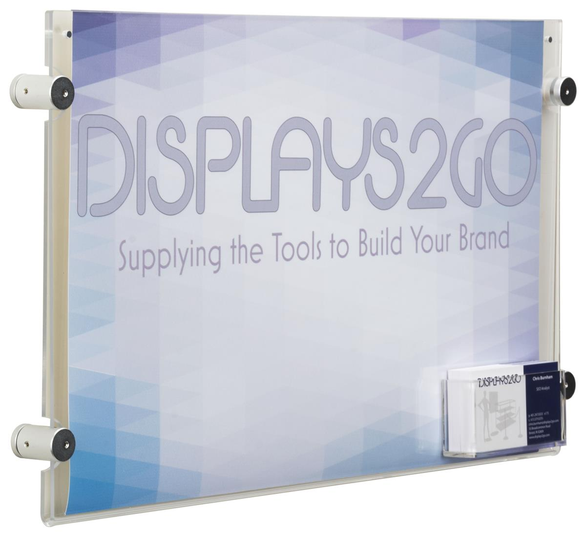 17 X 11 Sign Holder With Calling Card Pocket Wall Mounting