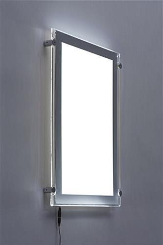 11 x 17 led edge lit frame silver standoffs. Black Bedroom Furniture Sets. Home Design Ideas