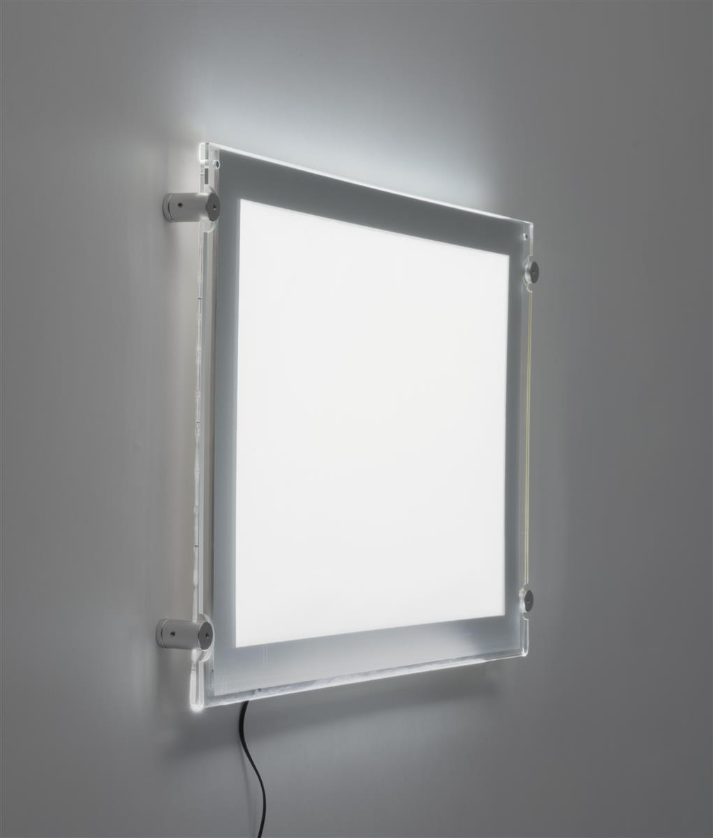 17 x 11 LED Light Box for Wall Mount, Magnetic Open – Silver