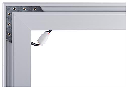 SEG fabric illuminated wall frame with sturdy corner connections