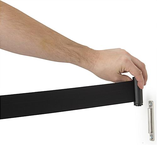 Wall Mounted Retractable Barrier With Black Belt