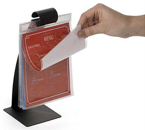 Flip Pocket Menu Stand in Use