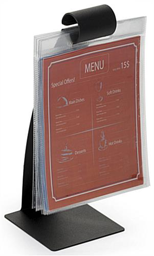 "5 x 7"" Vinyl Sleeves on Flip Pocket Menu Stand"