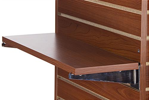 "22.25"" Cherry Slatwall Shelf with Chrome Knife Brackets"