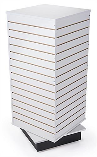 white rotating slatwall cube