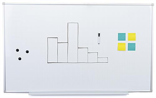 Galvanized ghost grid magnetic whiteboard
