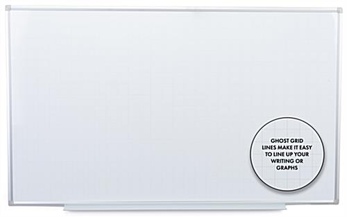 Ghost grid magnetic whiteboard with 39 inch marker tray