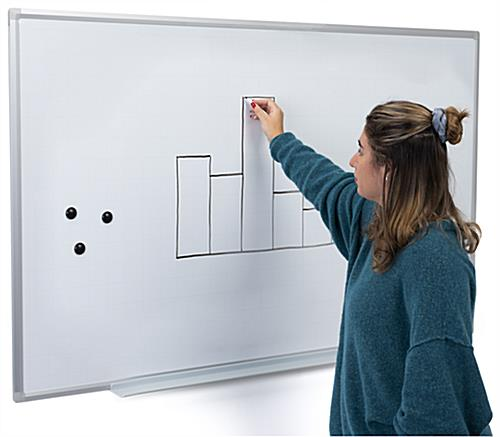 Ghost grid magnetic whiteboard with magnets and marker included