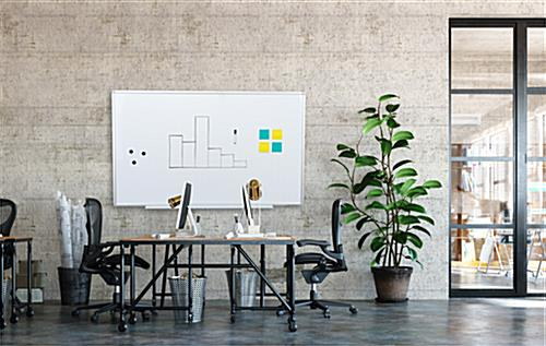 Ghost grid magnetic whiteboard with aluminum frame