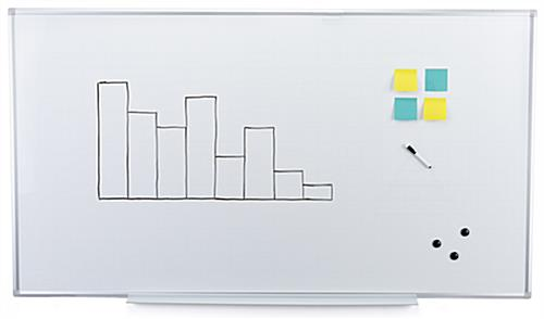 Magnetic ghost grid dry erase board with 39 inch pen tray