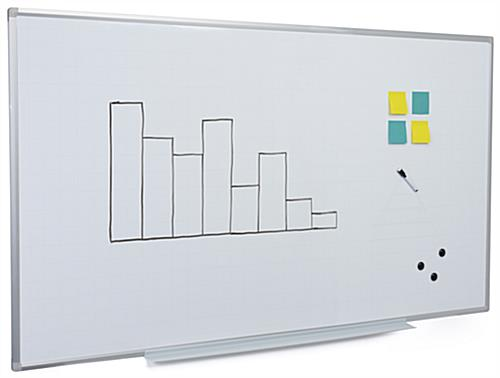 White magnetic ghost grid dry erase board