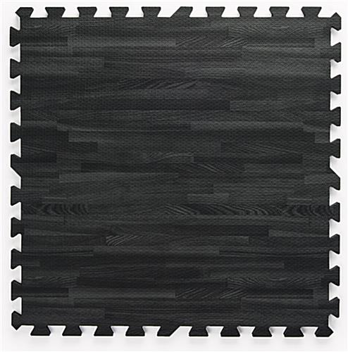 Black & Gray Wood Grain Floor Mats w/ Detachable Border